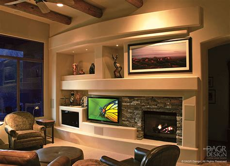 Beautiful Livingroom custom media wall designs with fireplaces by dagr design