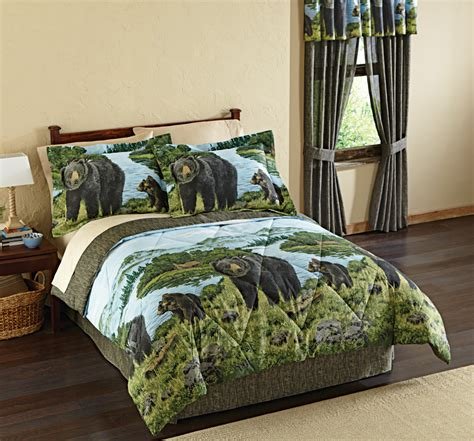 complete bedding sets queen comforter set nature black bear bedspread bedding full