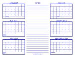 Calendar 2017 6 Months 6 Month Calendar 2017