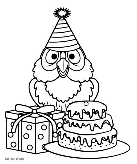 owl birthday coloring page free printable owl coloring pages for kids cool2bkids