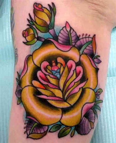 old school yellow rose tattoo 121 traditional modern rose tattoos and designs