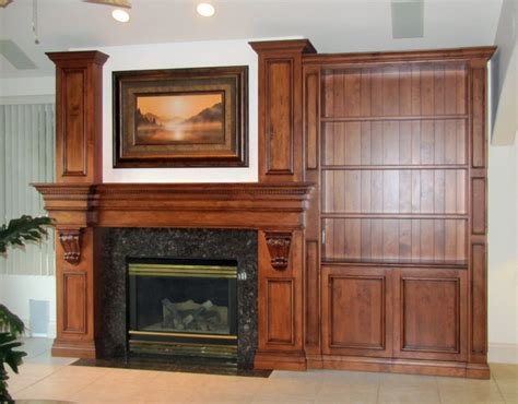 custom fireplace mantel and bookcase traditional