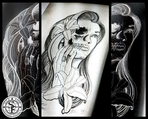 custom artwork half woman half skull tattoo sola fid 233