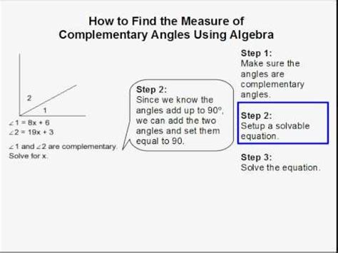 how to find how to find the measure of complementary angles using
