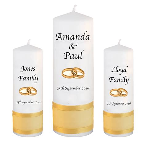 Wedding Font Set by Wedding Unity Candle Set Classic Font 1 Gold Rings