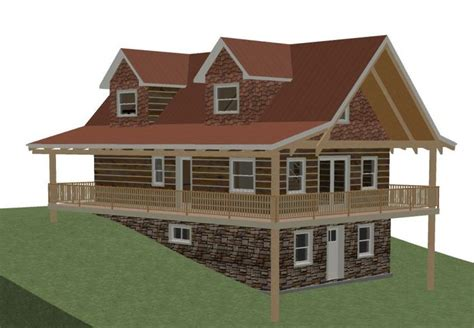 architecture log cottage house plans with walkout basement