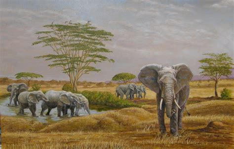 elephants at a water by werner rentsch painting