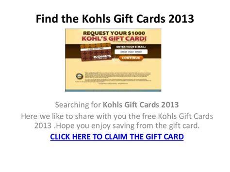 Kohls Com Gift Card - kohls gift cards 2013