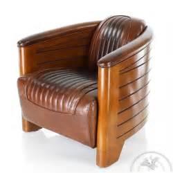 fauteuil club cuir marron vintage pirogue saulaie
