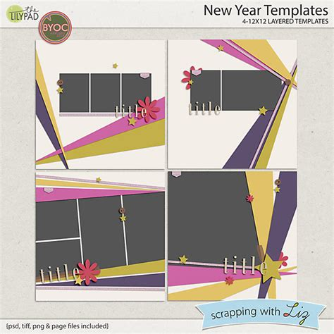 digital scrapbook template new year scrapping with liz