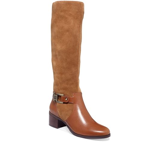 klein joetta wide calf boots in brown cognac