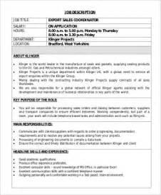 Sales Coordinator Description by Sle Sales Coordinator Description 9 Exles In Word Pdf