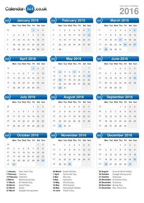 printable calendar 2016 showing bank holidays calendar 2016