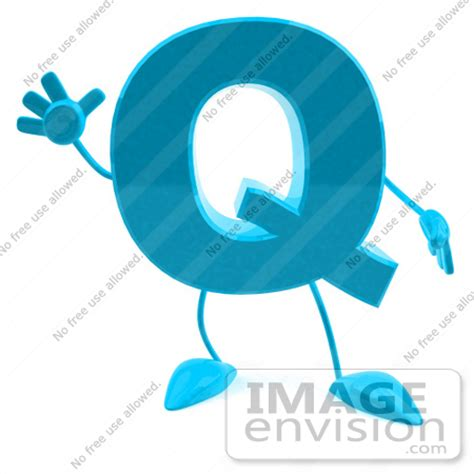 Character With Letter Q Royalty Free Rf Illustration Of A 3d Turquoise Letter Q Character With Arms And Legs 43739