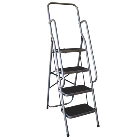 4 Step Safety Ladder With Handrails by Charles Bentley Four Step Ladder With Handrail Buydirect4u