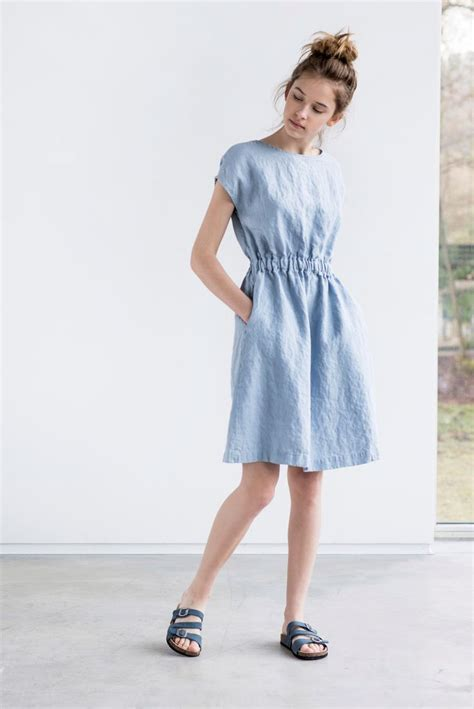 For Two Reviana Linen Dress 4 bluish grey basic linen dress with elastic by notperfectlinen s fashion