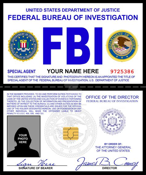 fbi id card template fbi credentials prop by rustybauder on deviantart