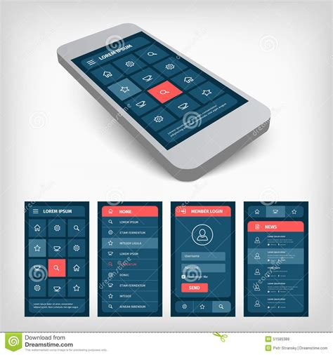 mobile interface design set of blue ui mobile design stock vector image 51585389