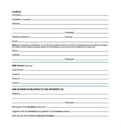 standard tenancy agreement template standard rental agreements sles exles format 7