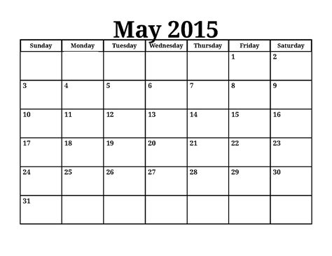 Blank Calendar For June 2015 Daily Calendar 2015 Printable One Page Calendar Template