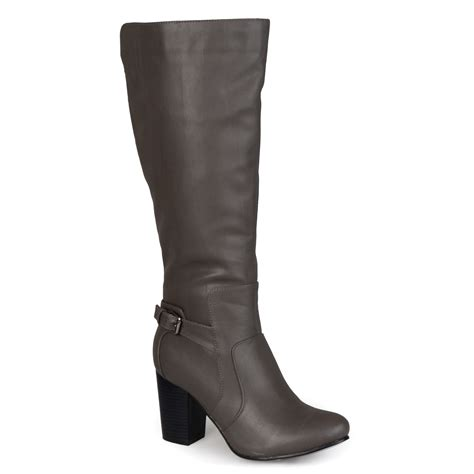 brinley co wide calf buckle detail high heeled boot