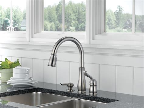 kitchen designs by delta delta leland kitchen faucet brushed nickel