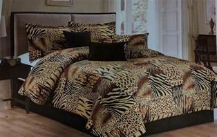7pc multi animal print microfur comforter set twin queen