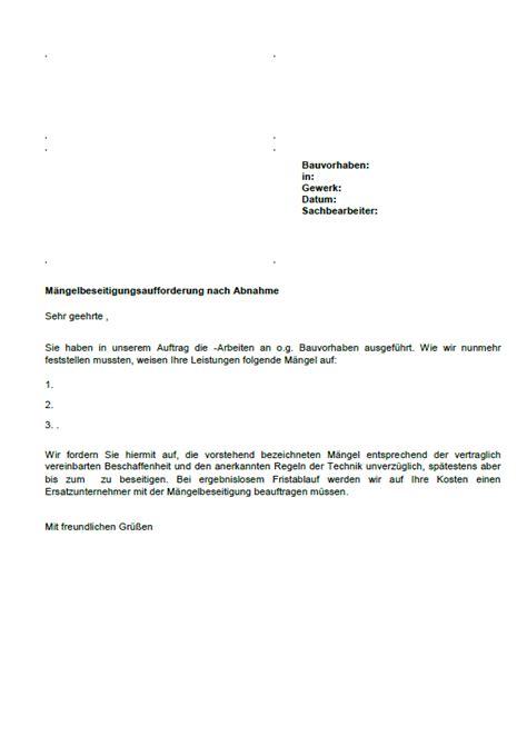 Muster Vorlagen Impressum M 228 Ngelbeseitigungsaufforderung Nach Abnahme Vob Vertrag Sofort