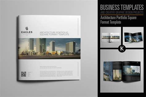 Architecture Portfolio Square Format Template By Keboto Thehungryjpeg Com Architecture Portfolio Template