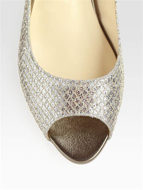 Flat Poxing Glitter Silver jimmy choo beck glitter coated metallic leather peep toe ballet flats in silver chagne lyst