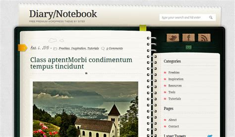 notebook themes diary notebook wordpress theme review