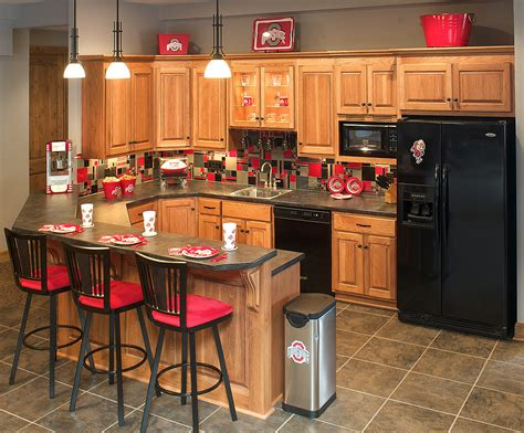 Kitchen Cabinet mullet cabinet sports themed basement bar