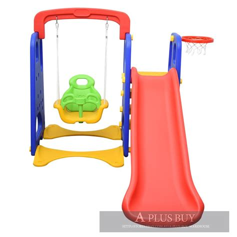 baby slide and swing set kids toddler fun swing slide activity set basketball