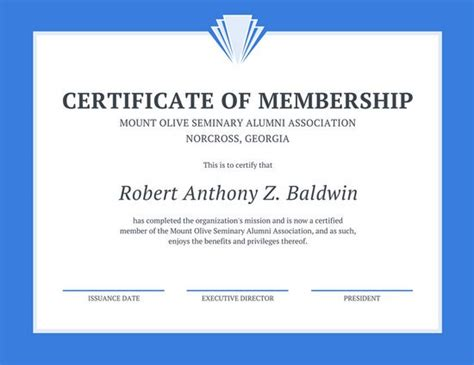certification letter for membership blue line border membership certificate templates by canva