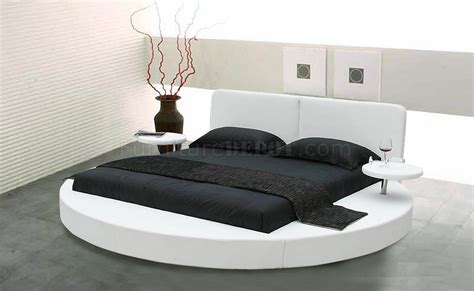 round bed choice of white or black leatherette round bed w side shelves
