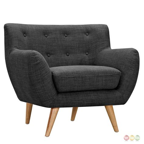 Tufted Armchair by Ida Modern Grey Button Tufted Fabric Armchair With
