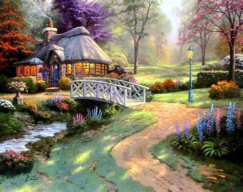 kinkade cottage painting kinkade cottage paintings kinkade