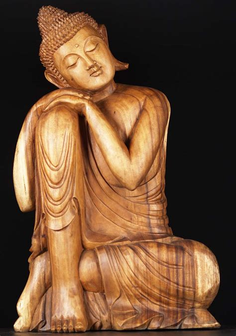the fortunate buddha series 1 sold wooden serene relaxing buddha statue 31 quot 81w34