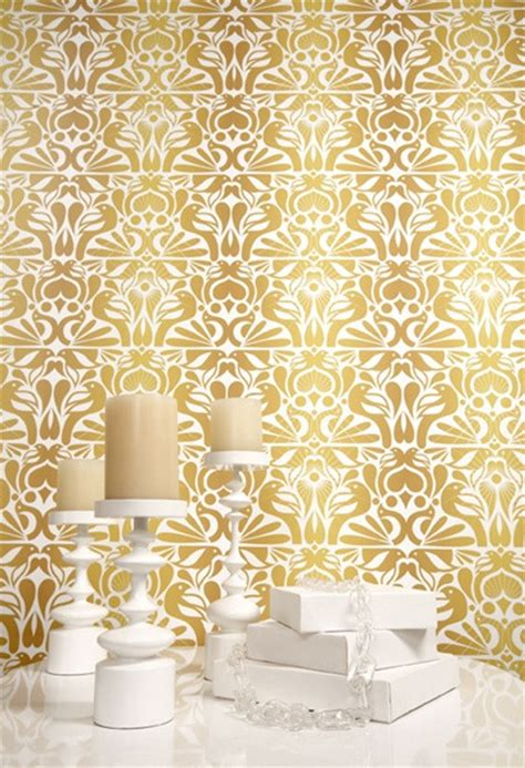 wallpaper with gold accents heavy metals the hottest decor trend of the season huffpost