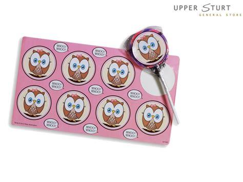 pink owl small lollipop sticker sheet 8 pack upper