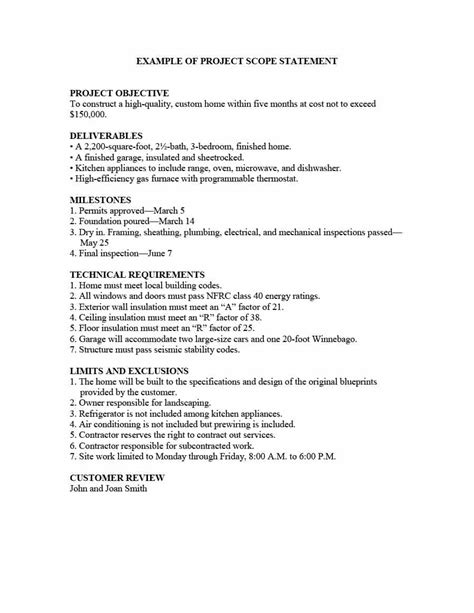 Resume Samples With Objectives by 43 Project Scope Statement Templates Amp Examples Template Lab