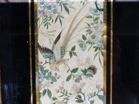 peacock silk embroidery shadowbox asian home decor chinese silk peacock butterfly embroidery textile