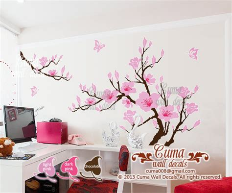 pink flower wall stickers pink flower wall decals cherry blossom cuma wall decals