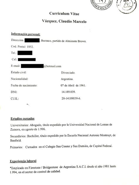 Modelo Curriculum Vitae Poder Judicial Poca Experiencia El Curioso Curr 237 Culum Reemplazante De Cabral Nexofin