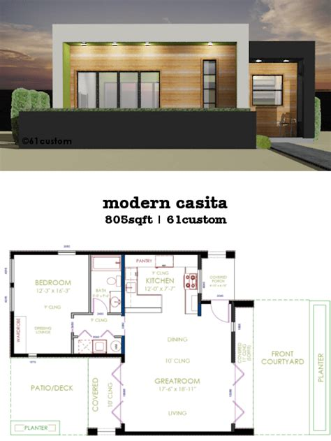 small modern house designs and floor plans casita plan small modern house plan 61custom