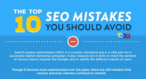 the top 10 seo mistakes you should avoid infographic