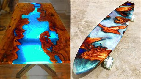 amazing epoxy wood resin tables  skateboards awesome
