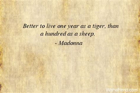 Madonna Is Not A Friend To The Sheep by Madonna Quote Better To Live One Year As A Tiger Than A