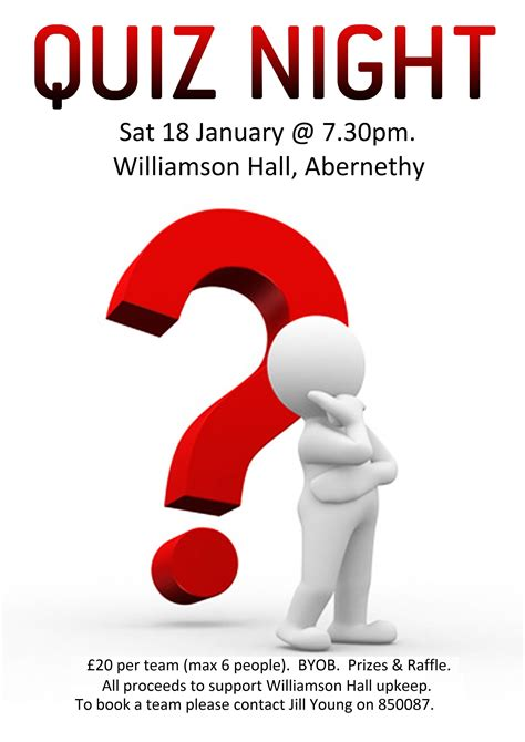 trivia poster template quiz 18 jan 2014 williamson in abernethy