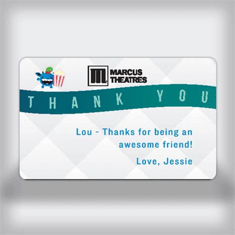 Movie Theatre Gift Card - marcus theatres custom movie gift card thank you edition